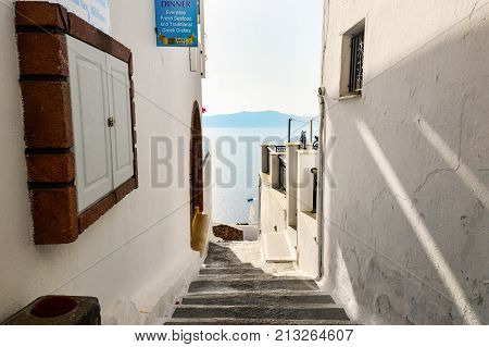 A Typical Alley Of Thira, The Main City Of Santorini, With View On The Caldera.