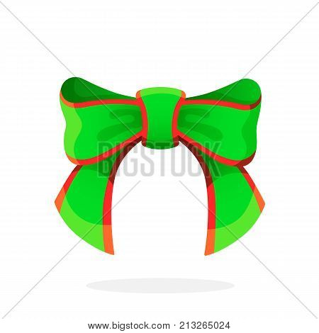 Vector illustration. Green Christmas bow-knot of ribbon. Isolated on white background