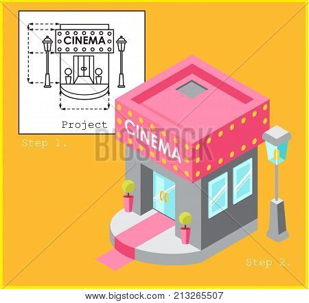 Cinema development construction design and planning concept. Drawing of the building in flat style and visualization of the building in isometric style