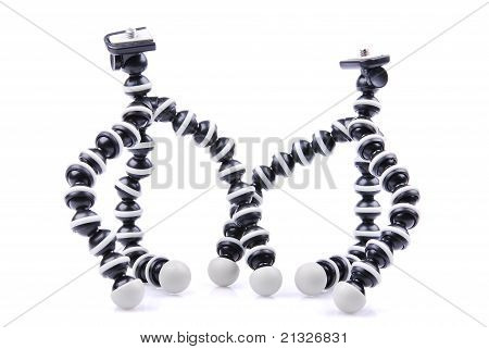 Small photo tripod, isolated on a white background