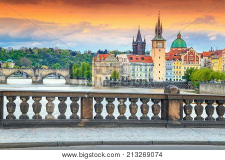 Wonderful colorful sunset spectacular cityscape and Vltava river with old stone Charles bridge in Prague Czech Republik Europe