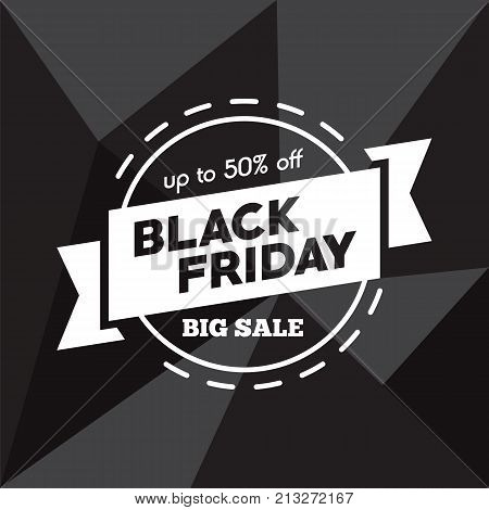 Big sale fifty percent on black friday shopping vector illustration. Vector picture autumn discounts in store on black friday sale