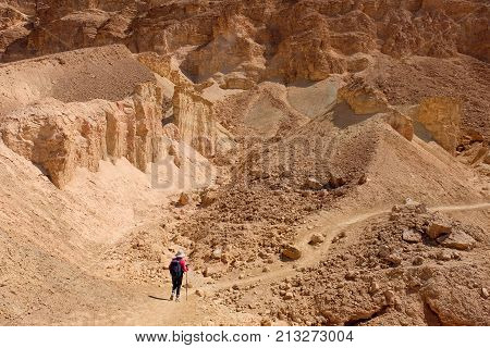 One unrecognized hiker on desert path in Negev mountains Israel.