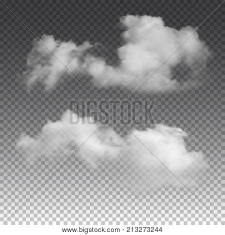 Clouds on transparent background. Vector realistic isolated cloud texture.