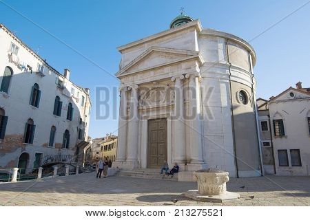 VENICE, ITALY-SEPTEMBER 25, 2017: View of the Church of La Maddalena in a sunny day
