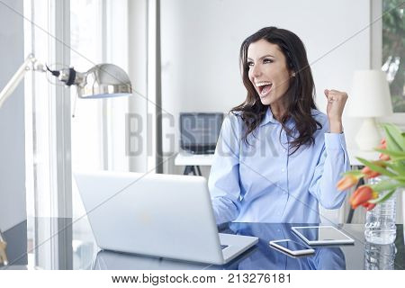 Happy relieved and elated woman sitting in the office in front of laptop