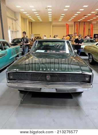 CRACOW POLAND - MAY 20 2017: Dodge Charger 1967y. displayed at MOTO SHOW in Cracow Poland. Exhibitors present most interesting aspects of the automotive industry