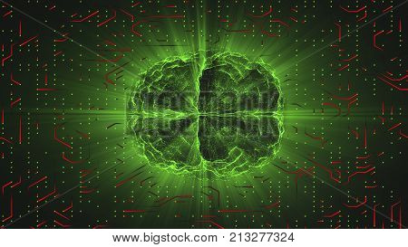 Green glowing brain wired on red neural surface or electronic conductors. Artificial intelligence (AI) and High Tech Concept.
