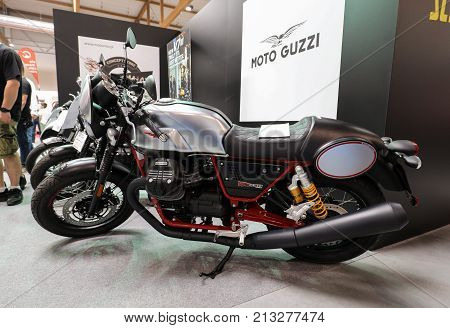 CRACOW POLAND - MAY 20 2017: Moto Guzzi V7 III Racer motorcycle displayed at MOTO SHOW in Krakow. Poland. Exhibitors present most interesting aspects of the automotive industry