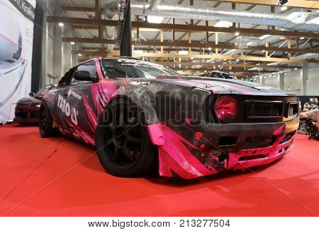 CRACOW POLAND - MAY 20 2017: Drift car displayed at MOTO SHOW in Cracow Poland. Exhibitors present most interesting aspects of the automotive industry