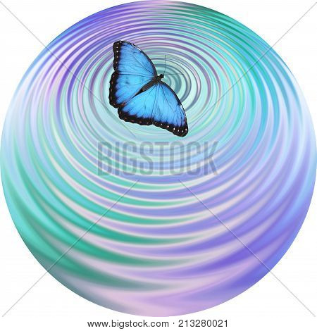 Blue Butterfly making ripples on water coaster drinks mat clock face - Big Blue Butterfly appearing to create ripples in blue green water surface with plenty of copy space below