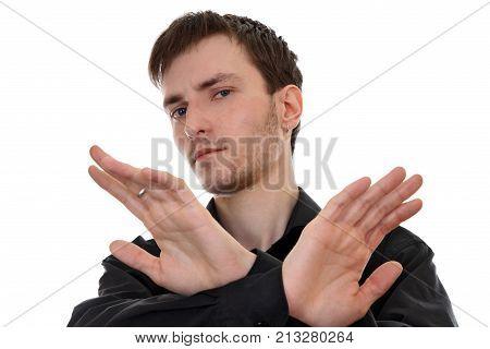 Gesture of denial of sullen young men