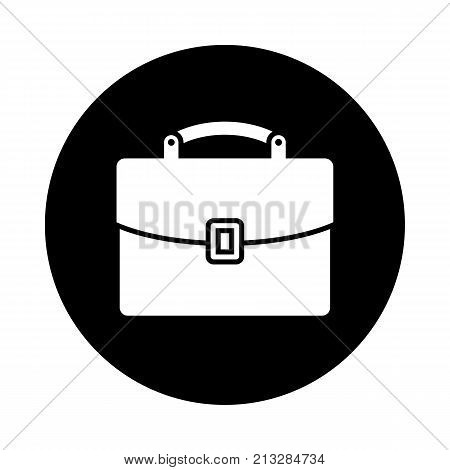 Briefcase circle icon. Black round minimalist icon isolated on white background. Briefcase simple silhouette. Web site page and mobile app design vector element.