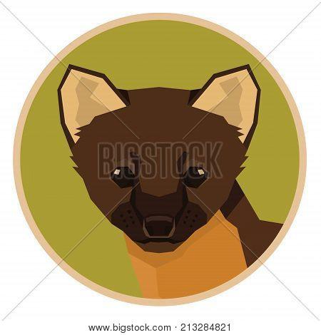 Wild animals collection Marten Geometric style icon round set