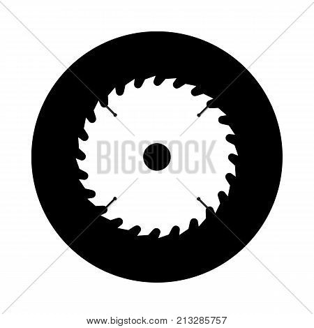 Circular saw blade circle icon. Black round minimalist icon isolated on white background. Saw blade simple silhouette. Web site page and mobile app design vector element.