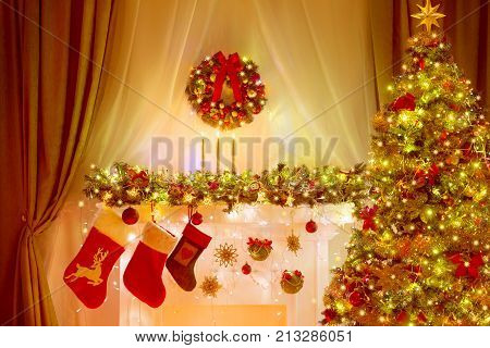 Christmas Tree Stocking and Wreath Holiday Lighting Room Decoration Lighting Decorated Xmas Tree