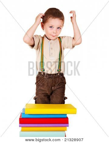 Child with stack book. Isolated on white.