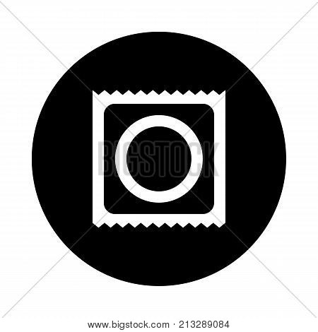 Condom circle icon. Black round minimalist icon isolated on white background. Condom simple silhouette. Web site page and mobile app design vector element.