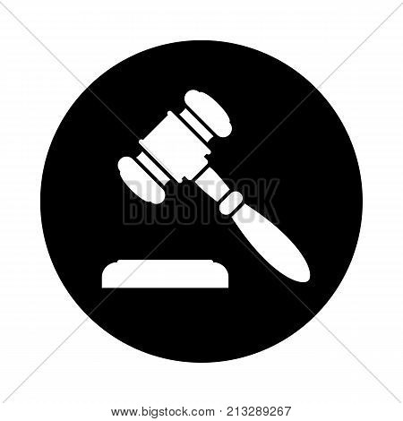 Auction or judge gavel circle icon. Black round minimalist icon isolated on white background. Auction or judge gavel simple silhouette. Web site page and mobile app design vector element.