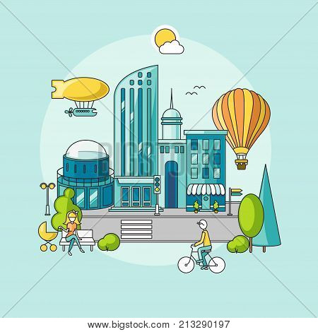 Modern city. City landscape with skyscrapers, high-rise buildings, park. Balloon and airship are floating in the sky. Man is riding a bicycle, a woman is rolling a buggy