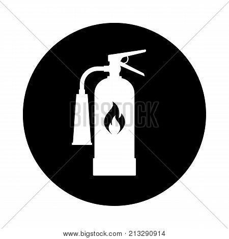 Fire extinguisher circle icon. Black round minimalist icon isolated on white background. Extinguisher simple silhouette. Web site page and mobile app design vector element.