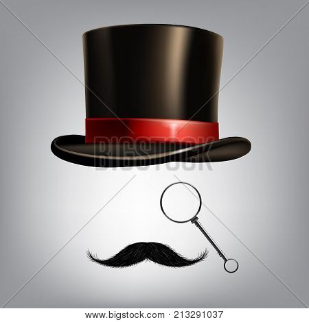 Gentleman accessories: hat cylinder, monocle and moustache. Vector illustration