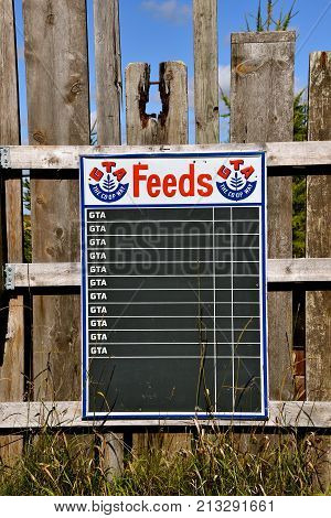 DOWNER, Minnesota:  The advertising chalk board is a product of GTA Feeds, an Animal Feed Wholesale and Manufacturers company headquartered in Great Falls, Montana.