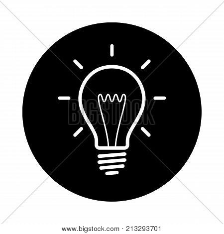 Light bulb circle icon. Black round minimalist icon isolated on white background. Light bulb simple silhouette. Web site page and mobile app design vector element.