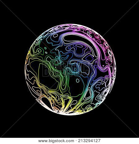 Sphere in the form of lines. Marble style ink. Topographic vector illustration