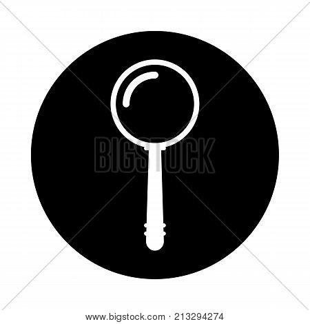 Magnifier circle icon. Black round icon isolated on white background. Magnifying glass simple silhouette. Web site page and mobile app design vector element.