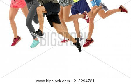 Group of running people on white background