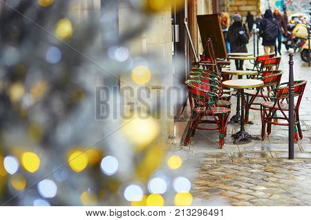 Cafe In Paris Decorated With Christmas