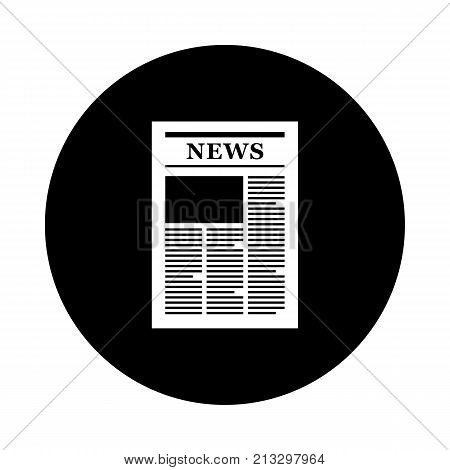 Newspaper circle icon. Black round minimalist icon isolated on white background. Newspaper simple silhouette. Web site page and mobile app design vector element.