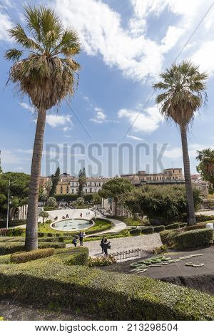 CATANIA, ITALY. April 03, 2015: Bath Swan (fountain). Giardino Bellini, Catania, Sicily. Italy. The Bellini Gardens is the oldest of the four main gardens of Catania.