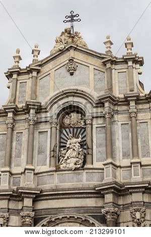 CATANIA, ITALY. April 3, 2015: Cathedral dedicated to Saint Agatha, Roman Catholic cathedral in Catania, Sicily, southern Italy.