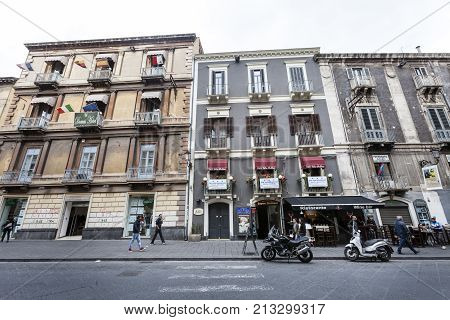 CATANIA, ITALY. April 03, 2015: Baroque facade of historic building in the city center of Catania, Sicily. Italy.