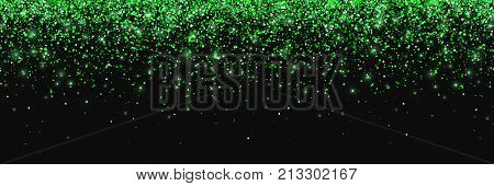 Green glitter on black background, falling particles, wide horizontal. Vector illustration