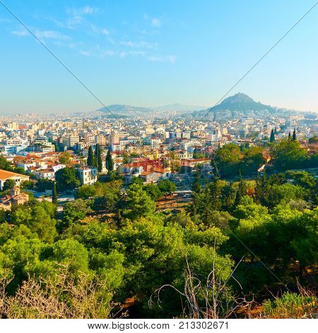 Panoramic view of central part of Athens city in Greece