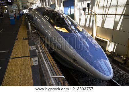 Hiroshima, Japan -  May 28, 2017: High-speed Shinkansen train at Hiroshima station