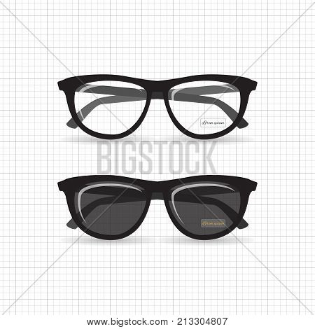 A set of stylish hipster and reading glasses. Retro specs for style with highlights and a label of the designer's name.
