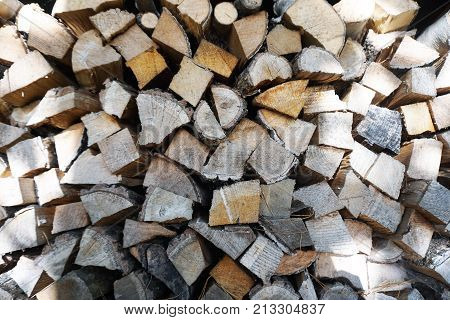 Wooden wood stack pile batch with sunlight