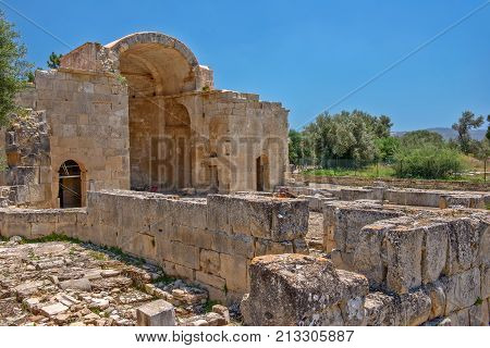 Ancient basilica in Gortys archeological site Crete Greece