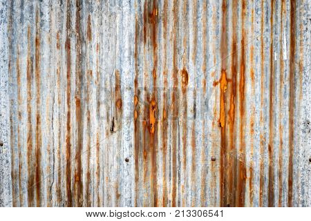 Abstract of Old damage rusted galvanized iron plate