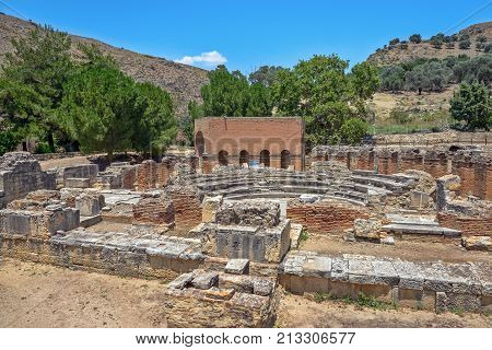 Archeological site of ancient town Gortyna on Crete Greece