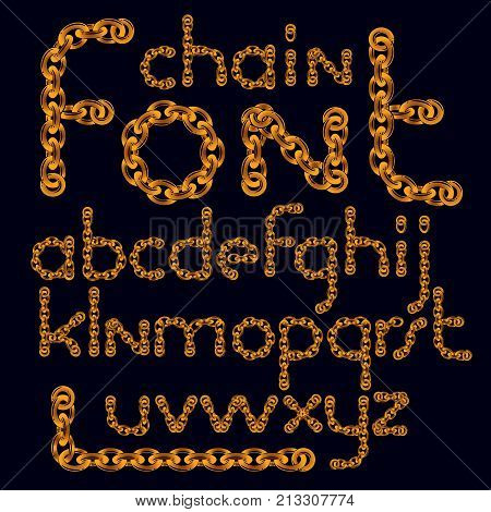 Vector English Alphabet Letters Collection. Lower Case Decorative Font Created Using Connected Chain