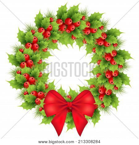Christmas wreath with red bow realistic holly fir tree branches. Holiday ilex winter decoration element. isolated vector illustration on a white background