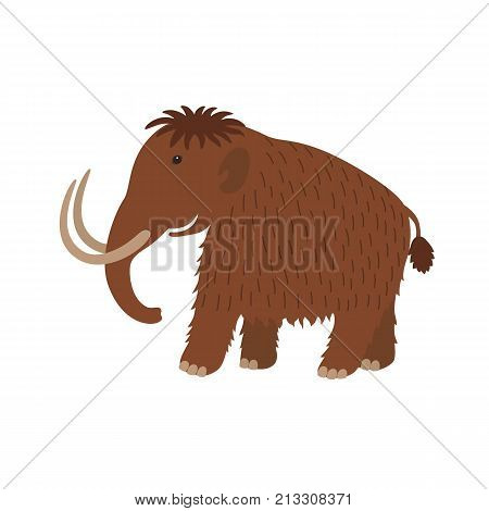 Mammoth icon in cartoon style isolated on white background for children. Dinosaurs and prehistoric symbol stock vector illustration.