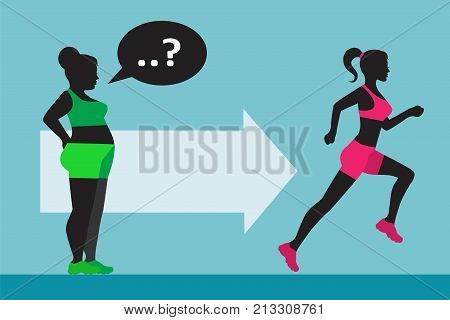 a fat woman wants to lose weight and looks at the construction of a woman who goes in for sports and runs
