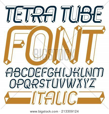 Set Of Trendy Fun Vector Capital English Alphabet Letters, Abc Isolated. Special Italic Type Font, S