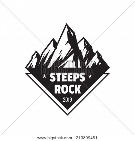 Steeps rock outdoor adventure - vector logo template concept illustration. Abstract mountains silhouette creative badge sign. Black & white design elements.
